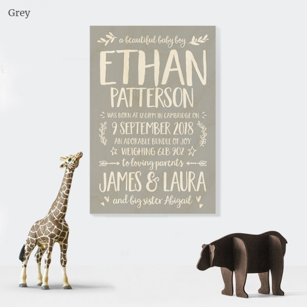 Personalised story of newborn Wooden Plaque Gift