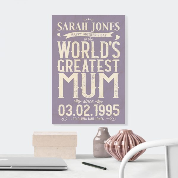 World's Greatest Mum in Lilac